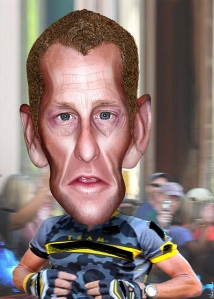 Caricature of Lance Armstrong (photo courtesy of DonkeyHotey/flickr)